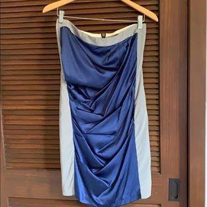 Lia Kes New York Gray Blue Satin Bodycon Dress